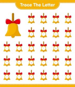 Rastreando o alfabeto de letras com sinos dourados de natal