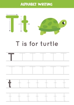 Rastreando todas as letras do alfabeto inglês. atividade pré-escolar para crianças. escrevendo letras maiúsculas e minúsculas t. ilustração bonita de tartaruga. folha de trabalho para impressão.