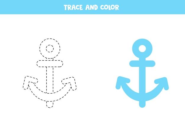 Rastrear e colorir a âncora dos desenhos animados. planilha para crianças.
