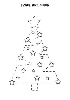 Rastrear e colorir a árvore de natal bonita. planilha para crianças.