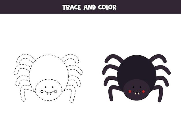 Rastrear e colorir a linda aranha de halloween. planilha para crianças.