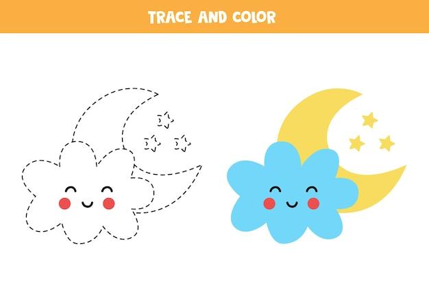 Rastrear e colorir a linda nuvem e a lua do kawaii. jogo educativo para crianças. prática de escrita e coloração.