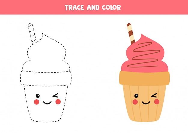 Rastrear e colorir casquinha de sorvete rosa fofo. jogo de escrita educacional para crianças. prática de caligrafia para crianças.