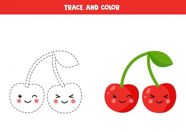 Rastrear e colorir cerejas kawaii fofas. prática de caligrafia para crianças.