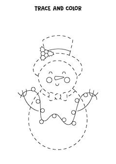 Rastrear e colorir o boneco de neve bonito do natal. planilha para crianças.