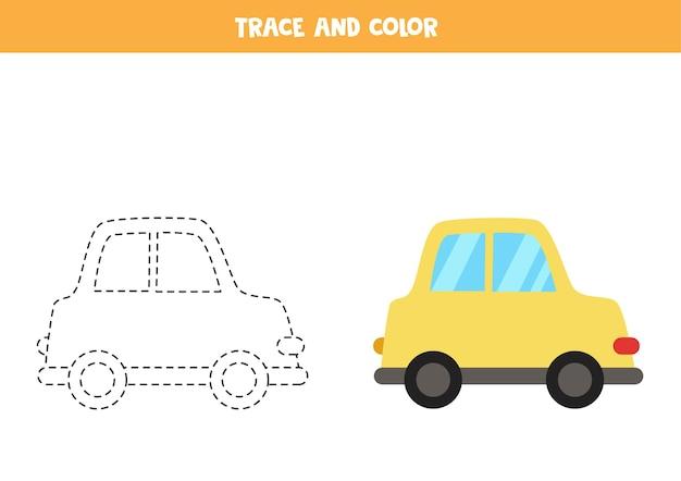 Rastrear e colorir o carro amarelo dos desenhos animados. jogo educativo para crianças. prática de escrita e coloração.