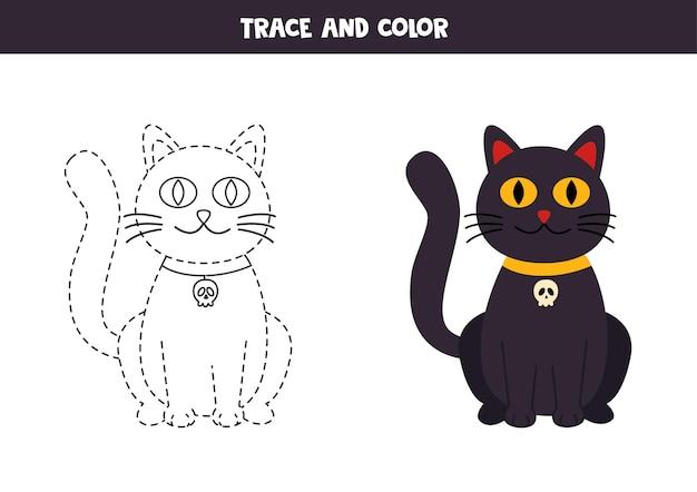 Rastrear e colorir o gato bonito do dia das bruxas. planilha para crianças.
