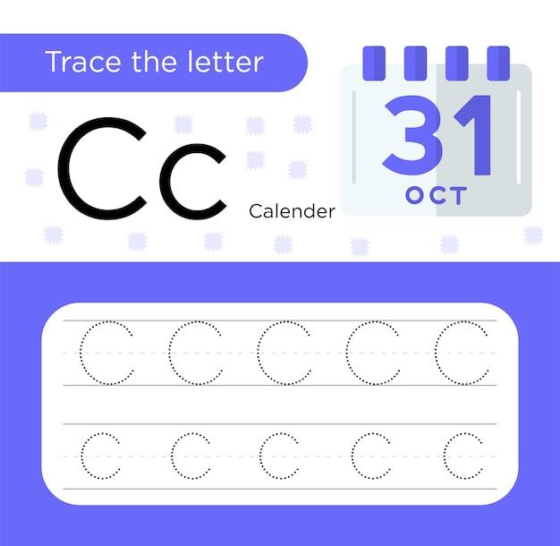 Rastrear e colorir, rastrear a planilha da letra c para crianças em idade pré-escolar