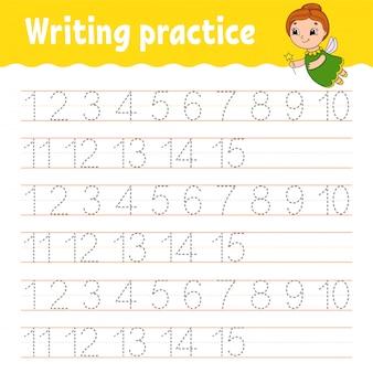 Rastrear e escrever. número 1-15. prática de caligrafia.