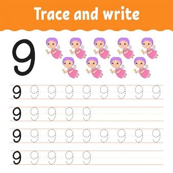 Rastrear e escrever. número 9. prática de caligrafia.