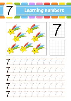 Rastrear e escrever. prática de caligrafia. aprendendo números para crianças. planilha de desenvolvimento da educação