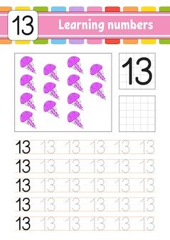 Rastrear e escrever. prática de caligrafia. aprendendo números para crianças. planilha de desenvolvimento de educação.