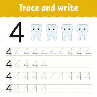 Rastrear e escrever. prática de caligrafia. aprendendo números para crianças