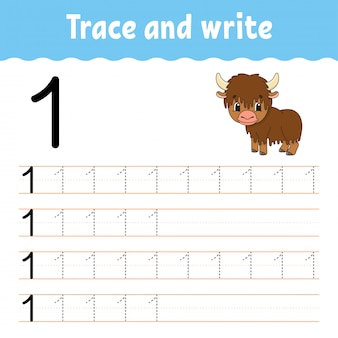 Rastrear e escrever. prática de caligrafia. aprendendo números para crianças.