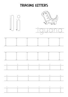 Rastrear letras do alfabeto inglês. letras maiúsculas e minúsculas i. prática de caligrafia para crianças em idade pré-escolar.