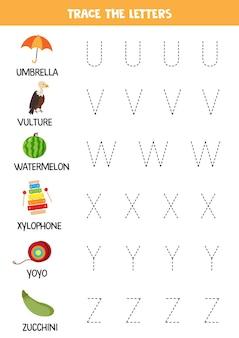 Rastrear letras do alfabeto inglês. prática de caligrafia para crianças em idade pré-escolar.
