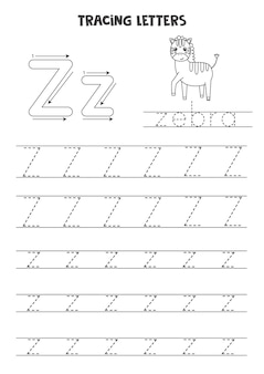 Rastrear letras do alfabeto inglês. z maiúsculas e minúsculas. prática de caligrafia para crianças em idade pré-escolar.