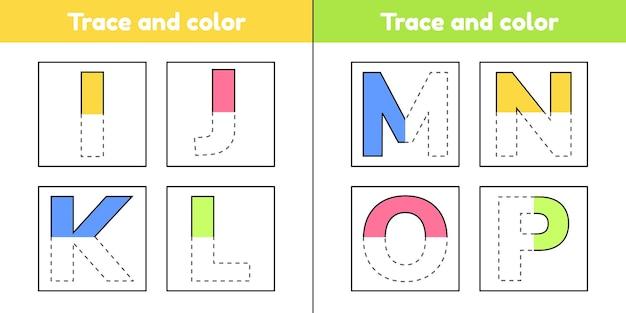 Rastrear letras para crianças do jardim de infância e pré-escola. escreva e pinte.