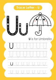 Rastrear o alfabeto de letra u exercício com ilustração do vocabulário dos desenhos animados