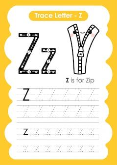 Rastrear o alfabeto de letra z exercício com ilustração de vocabulário dos desenhos animados