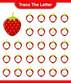 Rastreie a carta. carta de rastreamento com morango. jogo educativo para crianças, planilha para impressão