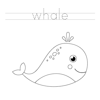 Rastreie a palavra. baleia bonito dos desenhos animados. prática de caligrafia para crianças em idade pré-escolar.