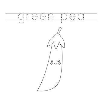 Rastreie a palavra. ervilha verde kawaii fofa. prática de caligrafia para crianças em idade pré-escolar.