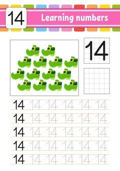 Rastreie e escreva números. prática de caligrafia. aprendizagem de números para crianças