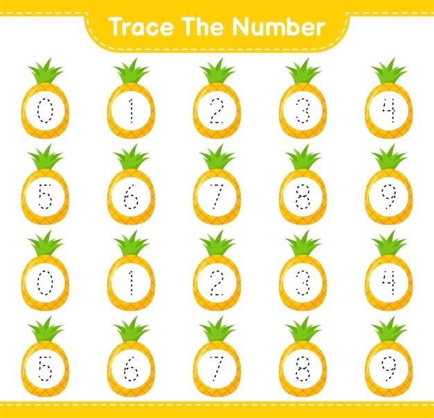Rastreie o número. número de rastreamento com abacaxi. jogo educativo para crianças, planilha para impressão
