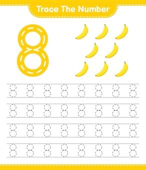 Rastreie o número. número de rastreamento com banana. jogo educativo para crianças, planilha para impressão