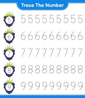 Rastreie o número. número de rastreamento com blackberries. jogo educativo para crianças, planilha para impressão