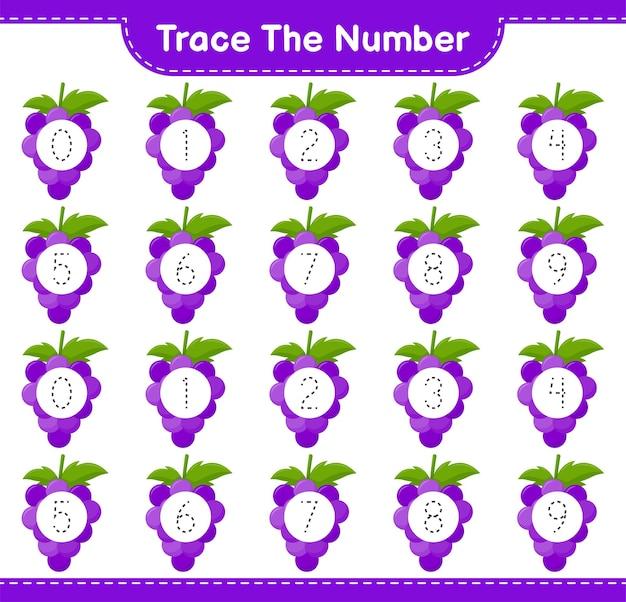 Rastreie o número. número de rastreamento com grape. jogo educativo para crianças, planilha para impressão