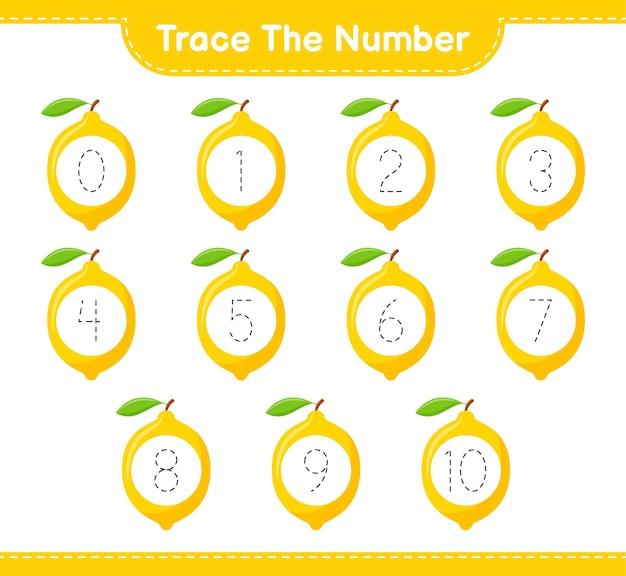 Rastreie o número. número de rastreamento com limão. jogo educativo para crianças, planilha para impressão