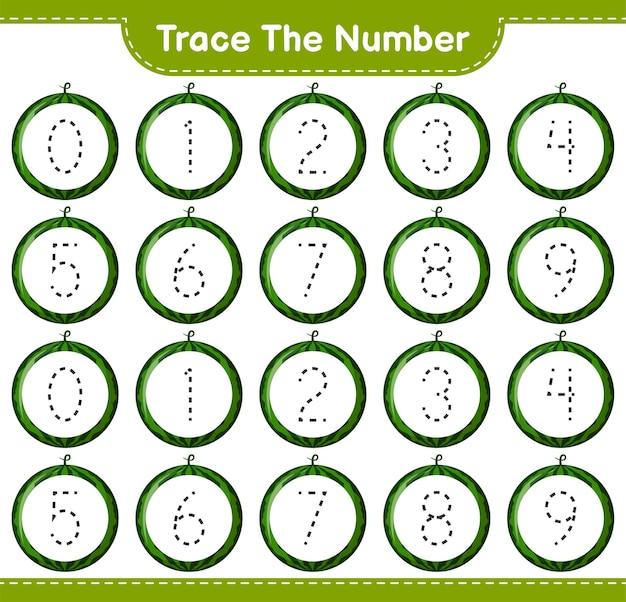 Rastreie o número. número de rastreamento com melancia. jogo educativo para crianças, planilha para impressão