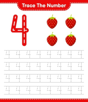 Rastreie o número. número de rastreamento com morango. jogo educativo para crianças, planilha para impressão
