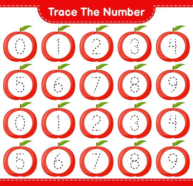 Rastreie o número. número de rastreamento com nectarina. jogo educativo para crianças, planilha para impressão