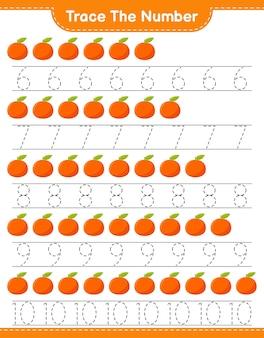 Rastreie o número. número de rastreamento com tangerin. jogo educativo para crianças, planilha para impressão
