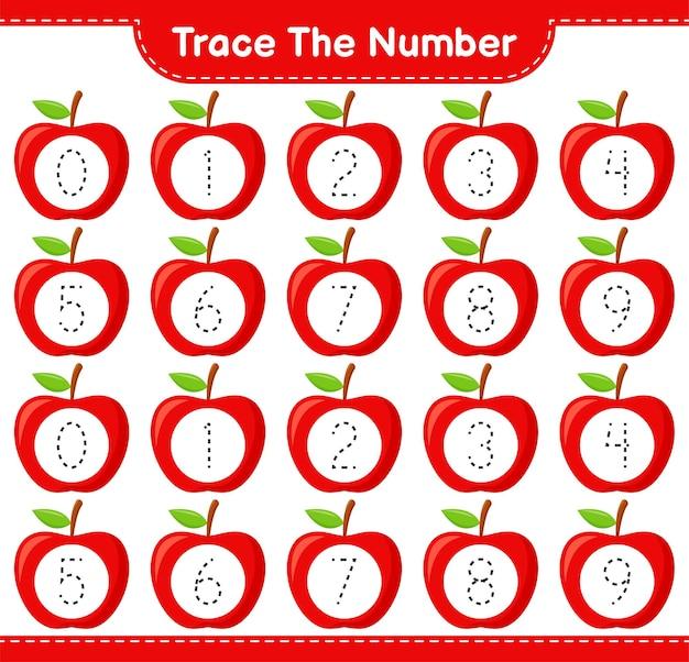 Rastreie o número. rastreando o número com a apple. jogo educativo para crianças, planilha para impressão
