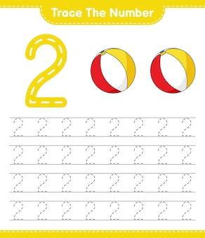 Rastreie o número rastreando o número com a planilha para impressão do jogo educacional de bolas de praia