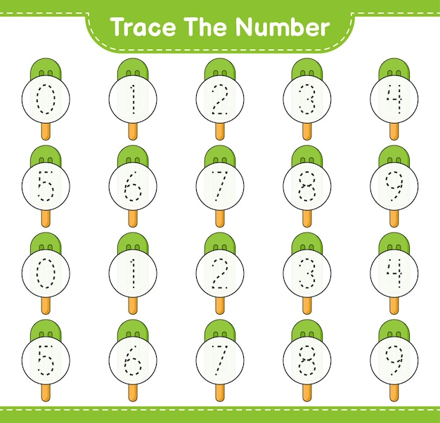 Rastreie o número rastreando o número com a planilha para impressão do jogo educacional infantil ice cream
