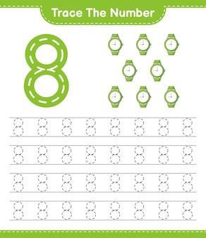 Rastreie o número rastreando o número com a planilha para impressão do jogo educacional infantil relógios