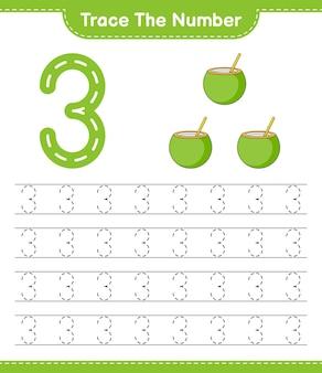 Rastreie o número rastreando o número com a planilha para impressão do jogo educativo para crianças coconut