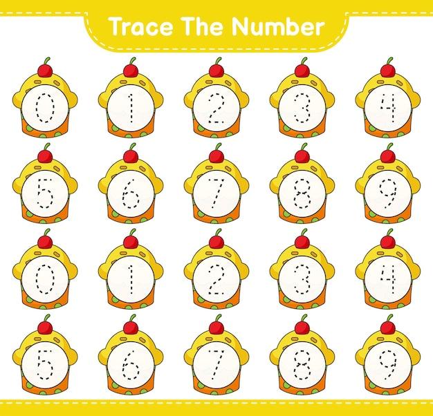 Rastreie o número rastreando o número com a planilha para impressão do jogo educativo para crianças cup cake