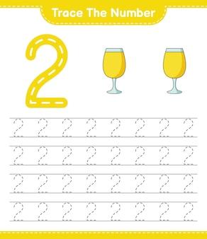 Rastreie o número rastreando o número com a planilha para impressão do jogo infantil cocktail educacional