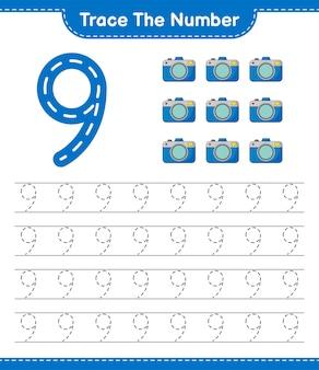 Rastreie o número rastreando o número com a planilha para impressão do jogo infantil educacional da câmera