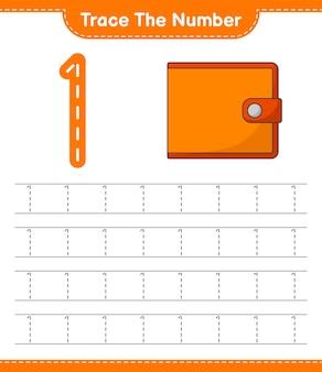Rastreie o número rastreando o número com a planilha para impressão do jogo infantil educacional da wallet