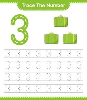 Rastreie o número rastreando o número com a planilha para impressão do jogo infantil educacional de bagagem