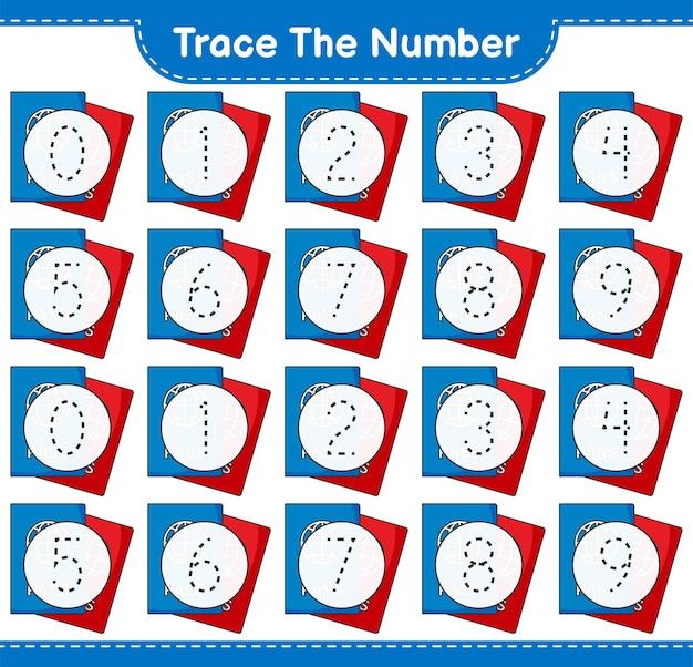 Rastreie o número rastreando o número com a planilha para impressão do jogo infantil educacional do passport