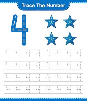 Rastreie o número rastreando o número com a planilha para impressão do jogo infantil starfish educacional