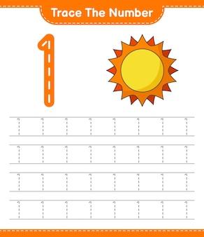 Rastreie o número rastreando o número com a planilha para impressão do jogo infantil sun educacional